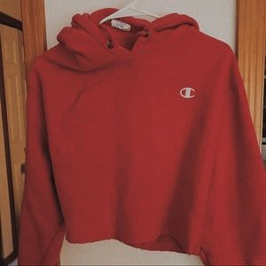 Red cropped champion hoodie